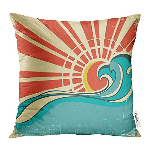 Golee Throw Pillow Cover Blue Surf Sea Waves Vintage of Nature with Sun Retro Beach Decorative Pillow Case Home Decor Square 18x18 Inches Pillowcase