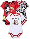 Apparel : Disney Baby Boys' Mickey Mouse 3 Pack Bodysuits, Multi/Red, 24M