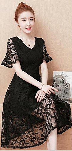 Abito nero delicato corte V a scollo con SLR da donna a sottile e pizzo maniche in B0qd6xZ