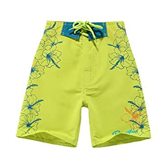 Boy Hawaiian Swimwear Board Shorts with Tie in Lime Green with Blue Floral 2 Year Old