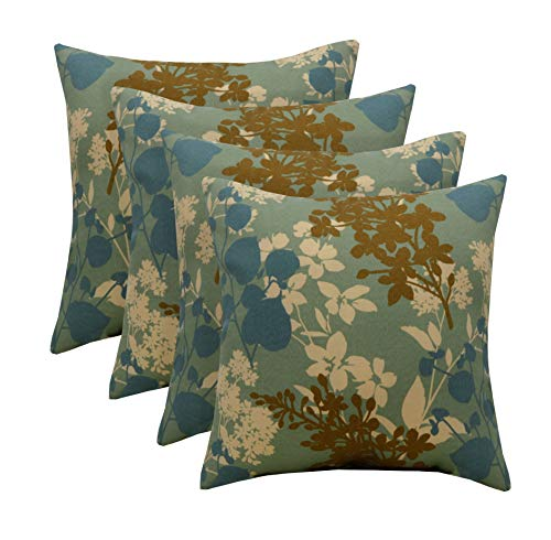 RSH Décor Set of 4 Indoor/Outdoor Square Throw Toss Pillows (Montfleur Mineral Blue Floral)