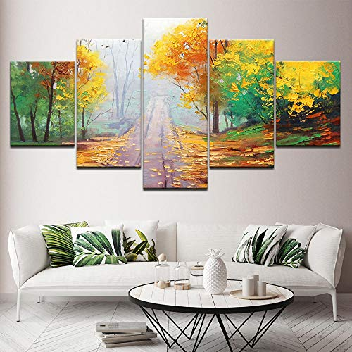 (Bzdmly 5 Canvas Paintings Late Autumn Trail Wallpapers Art Print Modern Poster Modular Art Painting for Living Room Home Decor-B)