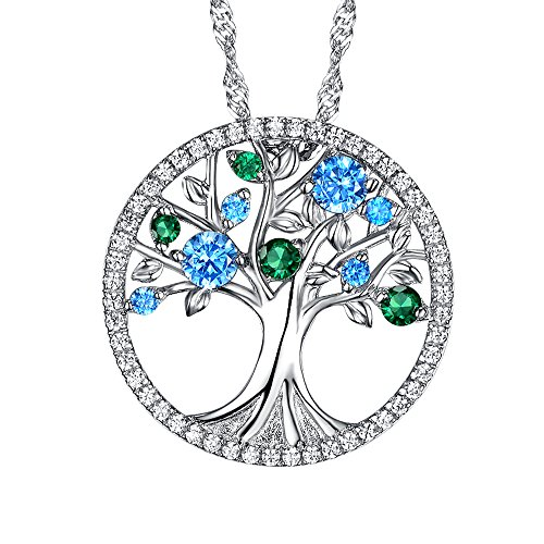 Mothers Day Gift Love Tree Necklace for Mom March Birthstone Created Aquamarine & Emerald Fine Sterling Silver Jewelry Anniversary birthday Gift for Her Wife Girlfriend Fiancee - Aqua Emerald