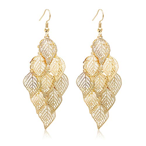 So Pretty Gold Leaf Dangle Earring for Women Boho Super Lightweight Chandelier Dangle Drop Earring
