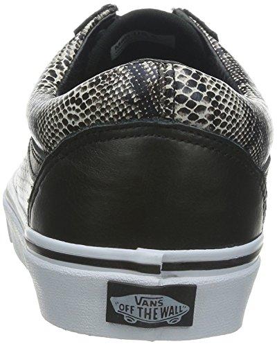 Vans Unisex (Premium Leder) Old Skool Black Skate Schuhe (Schlange) Schwarzkhaki