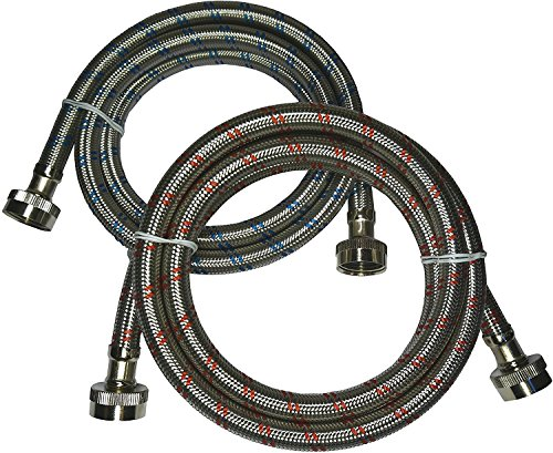 Premium Stainless Steel Washing Machine Hoses, 4 Ft Burst Proof (2 Pack) Red and Blue Striped Water Connection Inlet Supply Lines - Lead Free ()