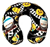 Emoji Faces Railroad Round Velvet Memory Foam Travel Pillow Neck Support Head Rest Cushion Kids Plush Soft Toy Toddlers Teens Emojies Expressions Black