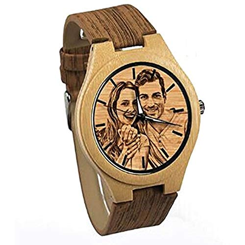(Personalized Customized Wooden Watch with Photo Or Message Double-Side Engraving for Personalized Gift (40MM, Beige 1))
