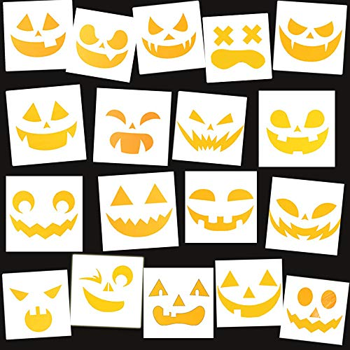 Halloween Carving Letters (BAISDY 18Pcs Reusable Halloween Faces Stencil for DIY Painting Crafting Pumpkin)