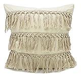Fennco Styles Stylish Fringe Tassels Decorative Cotton Throw Pillow (Khaki, 18''x18'' Case Only)
