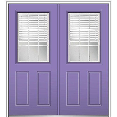MMI Door 64 in. x 80 in. Internal Blinds GBG Low-E Glass Right-Hand Classic 1/2-Lite Painted Fiberglass Smooth Prehung F