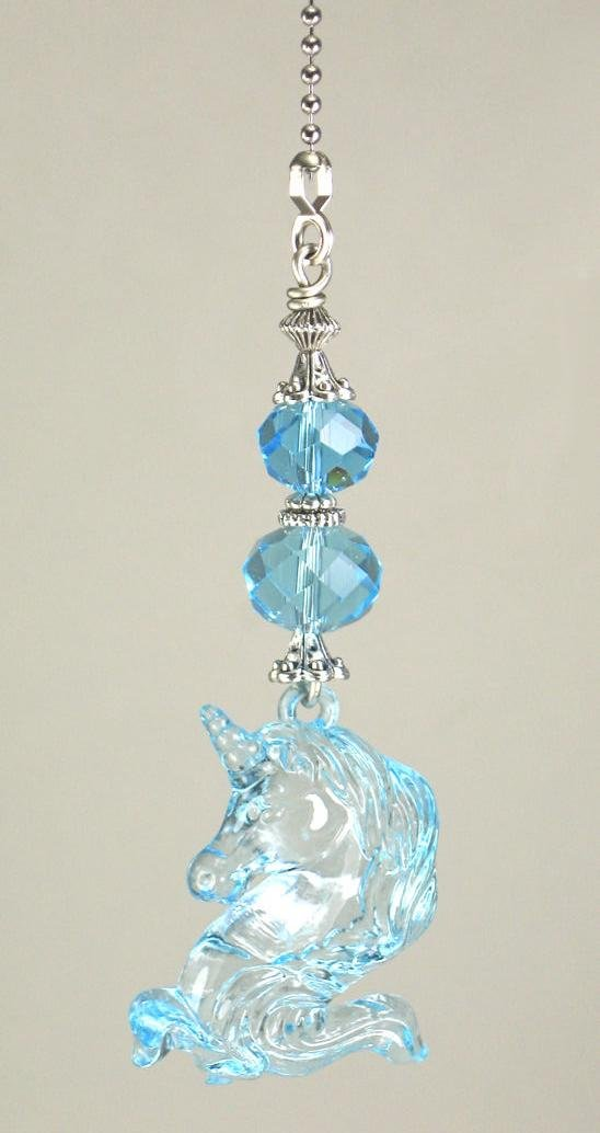 Dreamy Light Turquoise Blue Unicorn with Faceted Glass Ceiling Fan Pull