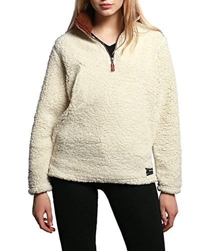 SENSERISE Womens 1/4 Zip Fleece Sherpa Pullover Winter Jacket Outwear - Usps Overseas Shipping