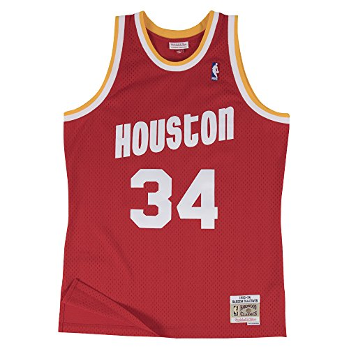 Hakeem Olajuwon Houston Rockets Mitchell and Ness Men's Red Throwback Jesey X-Large