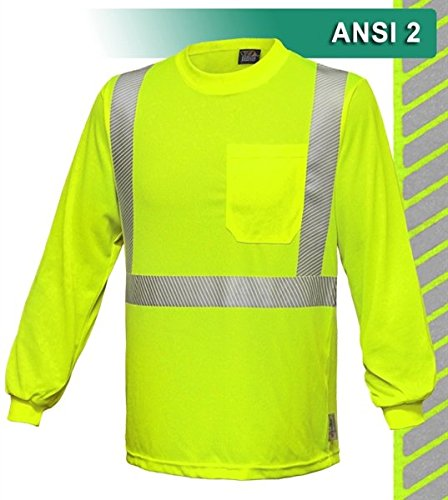 Brite Safety Style 211 Safety Shirt | Hi Vis Pocket Shirt | Birdseye Moisture Wicking Fabric | Comfort Trim Reflective Tape by 3M | ANSI Class 2 Compliant | For Men or Women (Large, Hi Vis Yellow) by Brite Safety