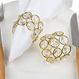 Feyarl Gold Napkin Rings Sparkly Crystal Beaded