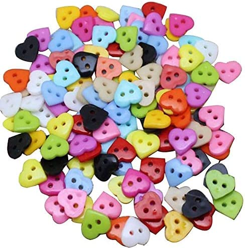 Yitang 縫うニットソーイングスクラップブッキングホームウェアアクセサリーとして美術工芸プロジェクトのためのプラスチック製ハート型の混合色のボタンの100pcs 10ミリメートルDIYの服ミシン用品の手工芸品 (Color : Multi Colored)
