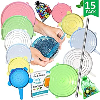 15 Pack Silicone Stretch Lids 12pcs XXL, Metal Drinking Straw + 2 Gift bags, Various Sizes and Shape of Containers, Reusable, Durable + Expandable Food Covers, Keeping Food Fresh, Dishwasher