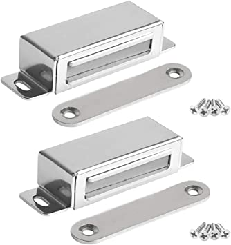 Magnetic Catch Cupboard Door Latch White Cabinet Catch Magnet Strong Small x 2