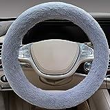 "SEG Direct Gray Faux Wool Winter Warm Steering Wheel Cover Universal 14.5""-15.25"""