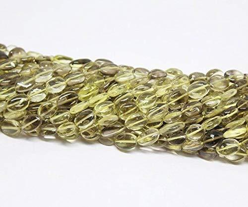 Beads Bazar Natural Beautiful jewellery 5 strand Lot Wholesale Bi Color Lemon Quartz Smooth Oval Gemstone Loose Spacer Craft Beads 13