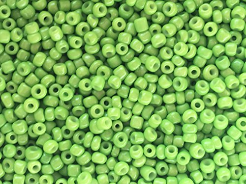Glass Green Bead - Czech Glass Seed Beads Lime Green Opaque Color Size:11/0 50 gr / 1.76 oz