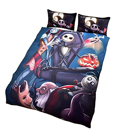 llwannr Duvet coversLuxury3Pcs/Set Halloween Cartoon Puppets Pumpkin Light Comforter Bedding Set King Queen Size Nightmare Bed Duvet Covers for Kids]()