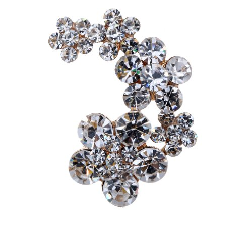 Yazilind Vintage Leaves Flower Clear Crystal Gold Plated Brooches and Pins for Wedding Bouquet