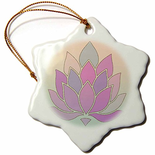3dRose Andrea Haase Art Illustration - Lotus Flower Illustration In Soft Pastel Colors - 3 inch Snowflake Porcelain Ornament (orn_268365_1) by 3dRose