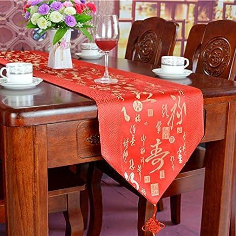 WXZQ Mantel Chino Moderno clásico té sólido Mantel Banquete de Boda Bandera Rojo Muebles de Caoba Mantel TV gabinete Zapatero, Gran Rojo, Suerte y longevidad, 32 * 145 cm: Amazon.es: Hogar