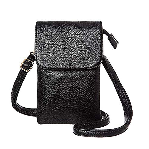 987d6f8526a9 Universal Crossbody Cell Phone Purse Multipurpose Soft PU Leather Wallet  Moblie Phone Pouch Shoulder Bag Carrying Cases for Smartphone Under 6.2''or  ...