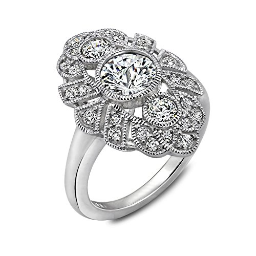 DIAMONBLISS Sterling Silver Cubic Zirconia Vintage Style Ring, Size 6 -