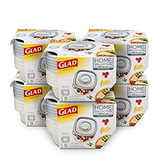 Glad Food Storage Containers, Medium Square (25 Oz) - 5 Count, Home Collection, 6