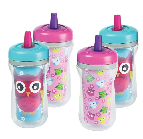 The First Years Spill-Proof Straw Cup With One Piece Lid, 4 Pk Owls