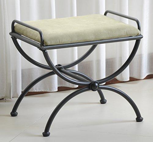 International Caravan Contemporary Vanity Stool with Microsuede Cushion