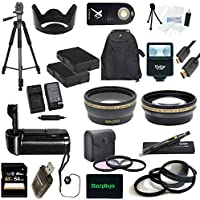 Nikon D5000 USA Ultimate Professional Accessory Bundle Package - EVERYTHING YOU WILL EVER NEED - Includes: 58mm Pro 3 Piece Multi Coated Filter Kit + 58mm Pro .43x Wide Angle Lens + 58mm Pro 2.2x Telephoto Lens + 58mm Close-Up Macro Lens Set + 2x Li-Ion Rechargeable Batteries + Rapid AC/DC External Charger + Tulip Lens Hood + Deluxe Battery Grip + 64GB SDHC Memory Card + High Speed USB Memory Card Reader + Pro SLave Flash + Pro 72 inch Tripod + Wireless Remote + Pro Gold Plated Mini HDMI Cable Deluxe + Backpack Carrying Case + Cap Keeper + Deluxe Starter Kit + Lens Cleaning Pen + SharpBuys MicroFiber Cloth - For use with the 55-300mm lens