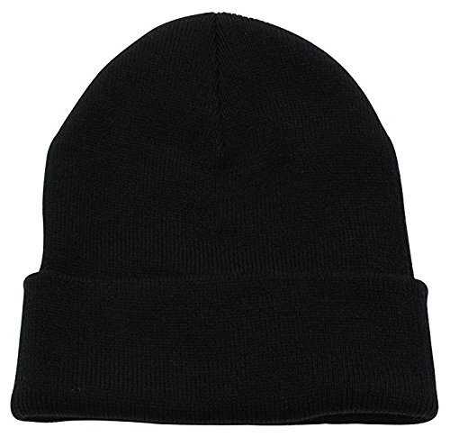 - ZMvise Unisex Slouch and Comfort Plain Skull Cap Men Women Daily Knit Beanie Hat (Black)