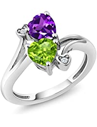 1.51 Ct Heart Shape Green Peridot Purple Amethyst 925 Sterling Silver Ring (Available in size 5, 6, 7, 8, 9)