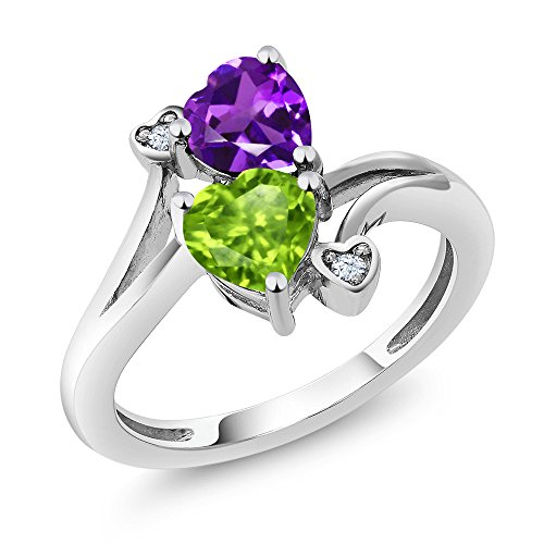 Amethyst Engagement Genuine Ring - 1.51 Ct Heart Shape Green Peridot Purple Amethyst 925 Sterling Silver Ring (Size 9)