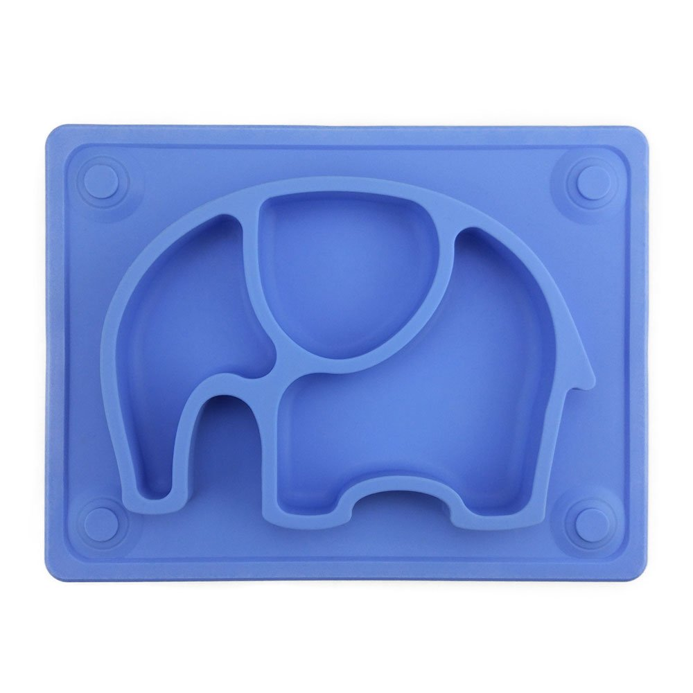 Baby Placemat, SILIVO 10''x7.7''x1'' Silicone Child Feeding Plate with Suction Cup Fits Most Highchair Trays Blue