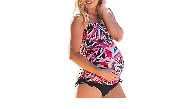 ZARLLE Conjunto De Bikinis Para Mujer,Plus Size Maternity Tankinis Mujer Traje De BañO Estampado Con Flores Beachwear Bikinis Traje De Embarazada Bikini Set ...