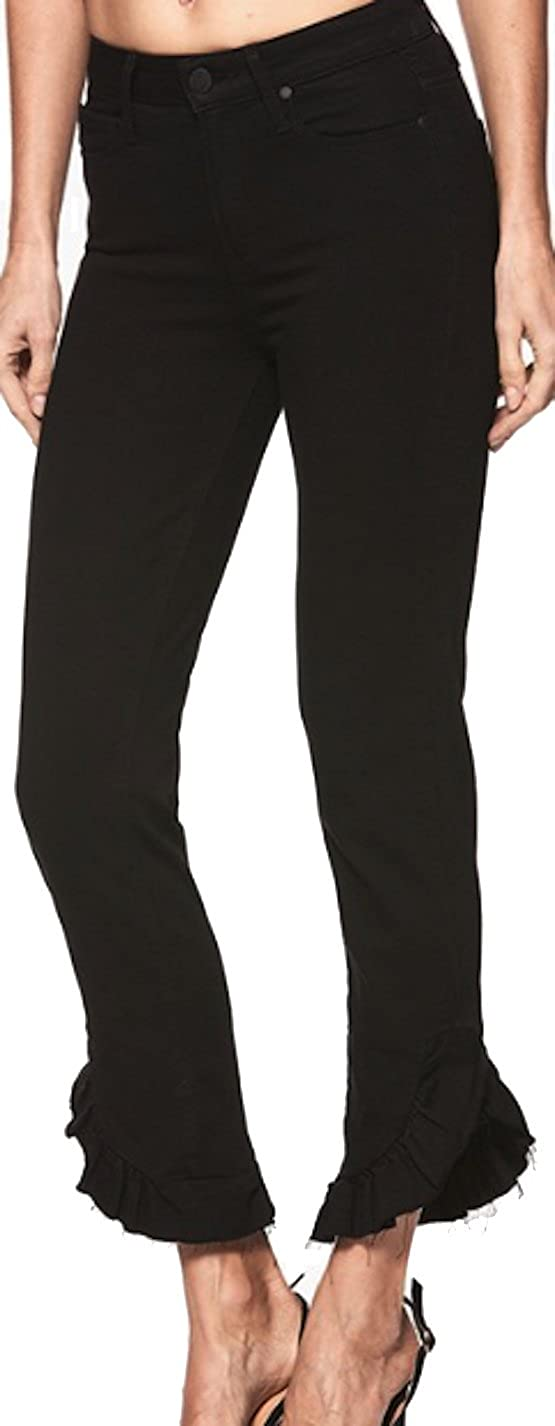 PAIGE Womens Jean Hoxton Straight Ankle 27 Black Shadow Raw Mini High Rise Straight Ankle Jean 4372521 2139