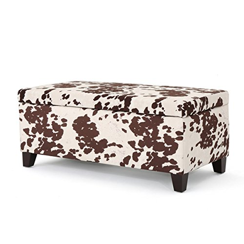Breanna Velvet Cow Print Storage Ottoman Bench by Christopher Knight Home