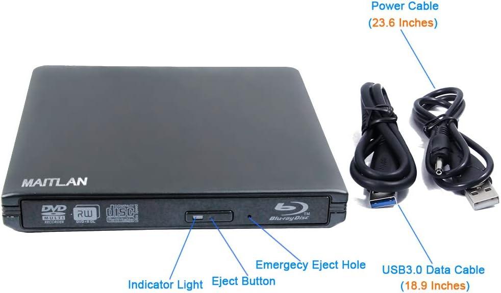 USB 3.0 External 6X Blu-ray Burner Optical Drive for Lenovo Yoga 720 920 ThinkPad IdeaPad 320 Flex 5 Legion Y520 Carbon X1 Ultrabook Gaming Laptop BD-RE 50GB 3D Blue-ray Players 8X DVD-R DL Writer