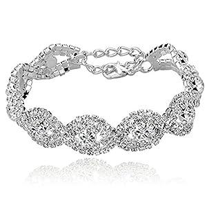 "Long Way® Women's Silver/Gold Plated Crystal Bracelets 6.7""+2.4"""