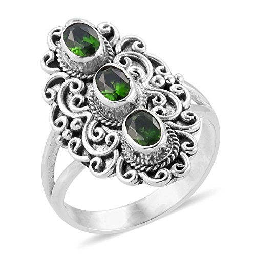 925 Sterling Silver 1.7 Cttw Oval Chrome Diopside Gift Ring for Women Size 8 - Designer Diopside Ring