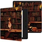 Ayotu Colorful Case for Kindle Oasis - (9th Gen, Released only in 2017) Honeycomb Version PU case with Auto Wake/Sleep,New Waterproof 7''Kindle Oasis Case,Soft Shell Series KO-10 The Library