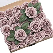 Ling's moment Roses Artificial Flowers 25pcs Realistic Dusty Rose Fake Roses with Stem for DIY Wedding Bouquets Centerpieces Floral Arrangements Decorations