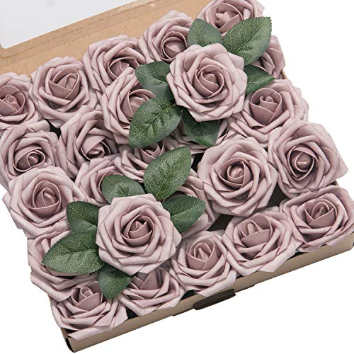 Lings moment Artificial Flowers 50pcs Real Looking Dusty Rose Fake Roses w/Stem for DIY Wedding Bouquets Centerpieces Bridal Shower Party Home Decorations