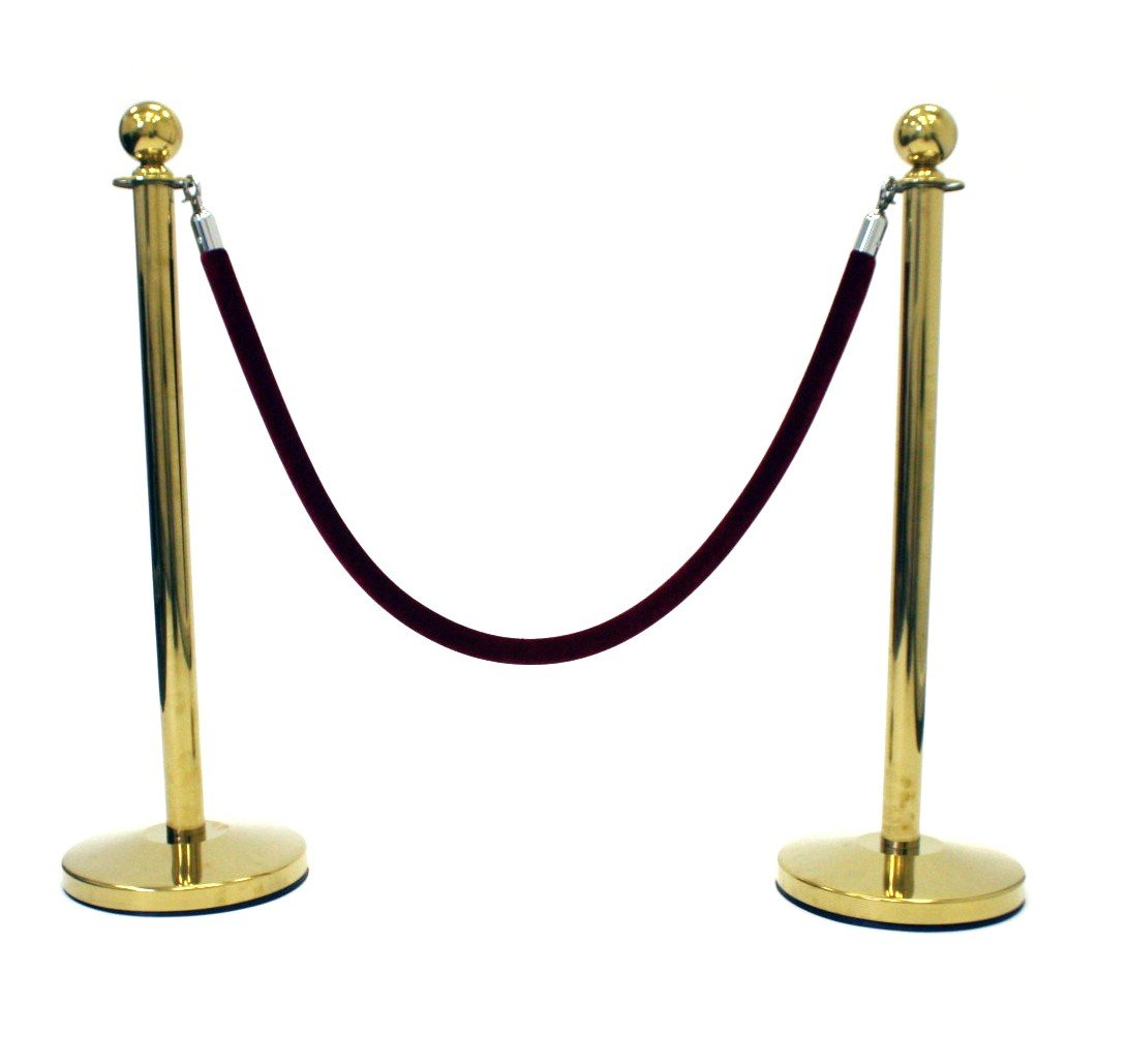 Gold Finish Pole /& Rope Barrier Queue Barriers
